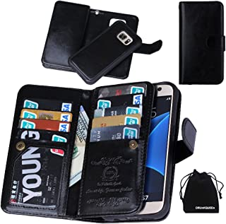 DRUnKQUEEn Galaxy S7 Case, Premium Leather Credit Card Holder Feature Wallet Type Flip Folio Case - Detachable Magnetic Back Cover with Lanyard Wrist Hand Strap for G930 Galaxy S7 - Black