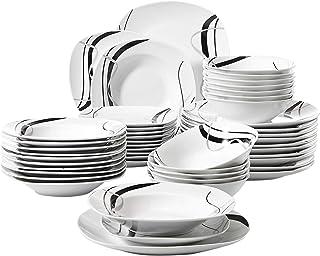 Veweet FIONA 48pcs Service de Table Pocelaine 12pcs Assiettes Plates 24,6cm, 12pcs Assiette Creuse 21,5cm, 12pcs Assiette ...