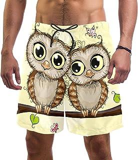 henghenghaha Mens Swim Shorts Waterproof Quick Dry Beach Shorts with Mesh Lining,Yellow Owl Couple