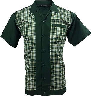 Retro Fashions Camisa de manga corta botones Rockabilly verde crema S-3XL para hombre