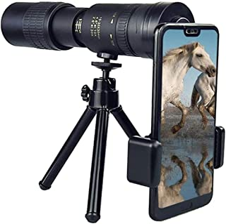 4K 10-300x40mm 超望遠ズーム 単眼鏡 高画質望遠鏡 電話クリップ付き 三脚 ブラック クリップ付き 三脚