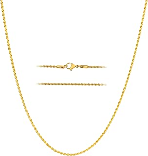 18k Gold Over Stainless Steel Hip Hop Rope Chain Necklace 2-8mm, 16 – 36 inches