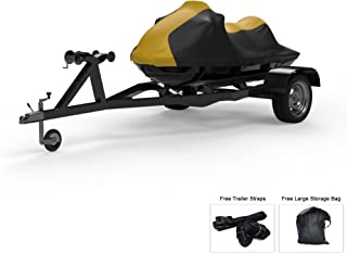 Weatherproof Jet Ski Covers for SEA DOO GTX S 155 2012-2019 - Yellow/Black Color - All Weather - Trailerable - Protects from Rain, Sun, UV Rays, and More! Includes Trailer Straps and Storage Bag