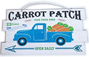 Easter Decorations for the Home Farmhouse Fall Decor Signs for Living Room Wall Art for Front Door Kitchen Yard Outdoor Porch Farmhouse Decor DIY MDF Wood Wooden Plaque Hanging Blue Cute Carrot Truck