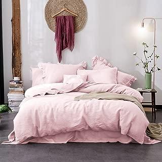 Merryfeel 100% French Linen Duvet Cover Set,Luxurious Bedding Set,3 Pieces(1 Duvet Cover with 2 pillowshams)- Full/Queen - Light Pink