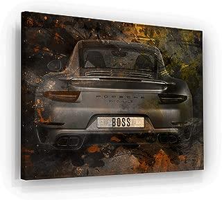 Boss Porsche Canvas Print Office Decor Pop Art Supercar Porsche 911 Sign (24