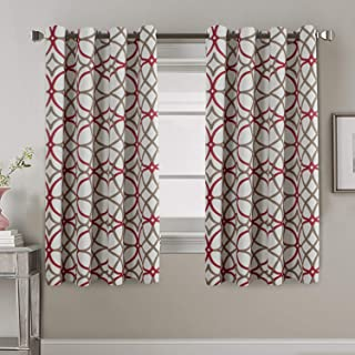 Blackout Curtains for Living Room Thermal Insulated Room Darkening Bedroom Curtains for Kids 63 Length - Geo Pattern Print Grommet Window Treatment Panels Pair (52 by 63 Inch, Taupe & Red)