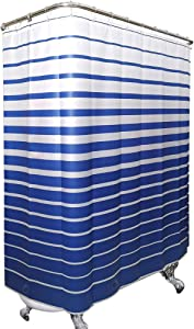 Riyidecor Bathtub Shower Curtain 180x70 Inch Tub All Wrap Around Clawfoot Tub Dark Blue Striped with Magnets PEVA Panel Bathroom Decor Extra Wide 32 Pack Metal Shower Hooks