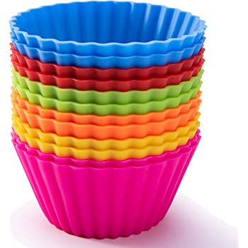 Silicone Baking Cups, Resusable Cupcake Liners Large 3.54 inch Muffin Cups Non stick Muffin Liners Cupcake Jumbo Baking Cups Stand Alone Cupcake Holder, 12Packs in 6 Rainbow Colors