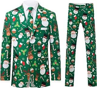 d/Spoke Mens Green Santa and Friends 2 Piece Christmas Suit