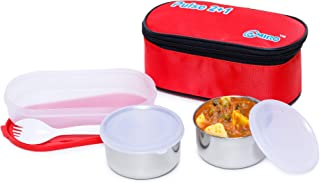 Omiro Executive Lunch Box Pulse Tiffin 2+1 for Office, Stainless Steel, 3 Container Set, Red