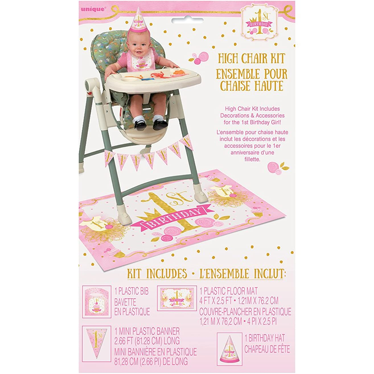 Pink and Gold Girls 1st Birthday High Chair Decoration Kit, 4pc