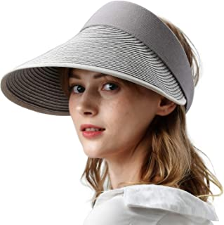camptrace Sun Visor Straw Hats for Women Large Wide Brim UV Protection Summer Beach Cap Packable