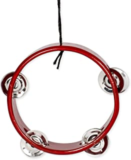 Red Tambourine Music Instrument Replica Christmas Ornament, Size 3 inch