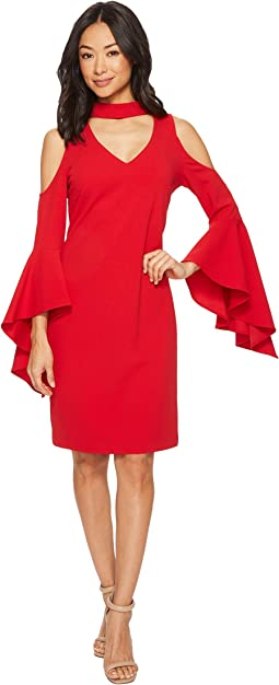 Vince Camuto - Cold-Shoulder Handkerchief Sleeve Chocker Neck Dress