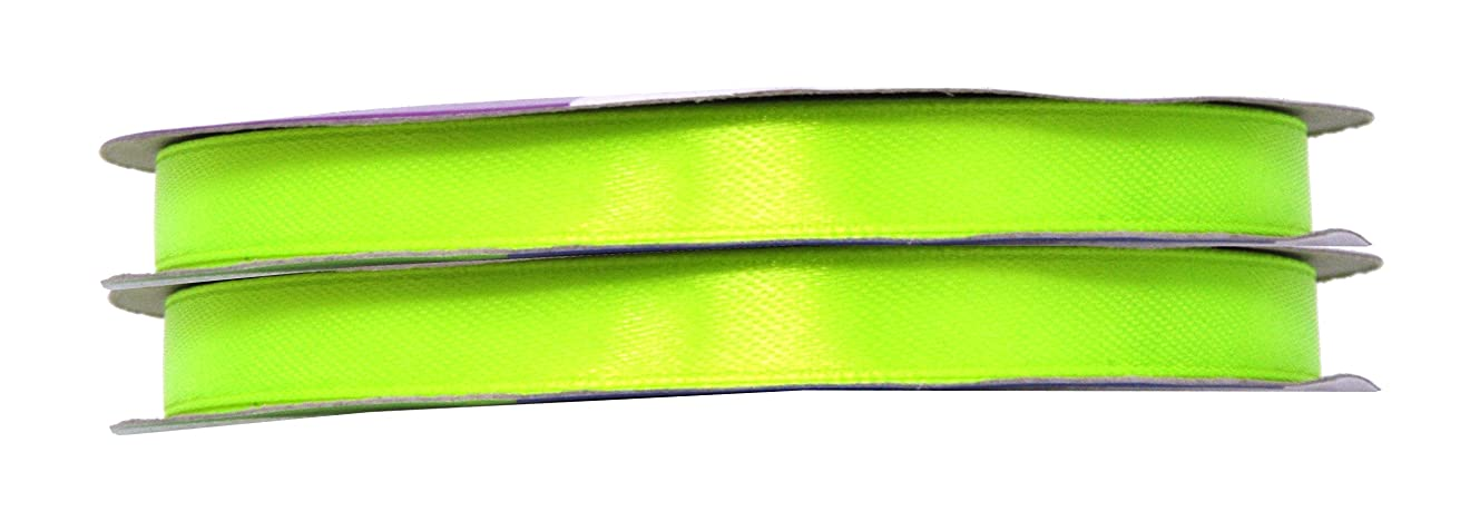 Mandala Crafts Fabric Satin Ribbon for Hair Bow Making, Sewing, Gift Wrapping, Flower Bouquets, Party Decorating, and Weddings (3/8 inch 100 Yards, Lime Green)