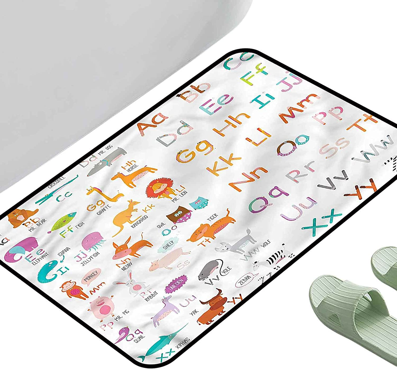 Bedroom Living Room Area Rug Kids Alphabet Themed 4 Zoo Gorgeous Colorful Special price