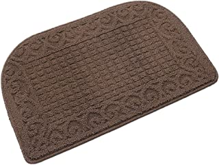 27X18 Inch Anti Fatigue Kitchen Rug Mats are Made of 100% Polypropylene Half Round Rug Cushion Specialized in Anti Slippery and Machine Washable (Brown 1 pc)