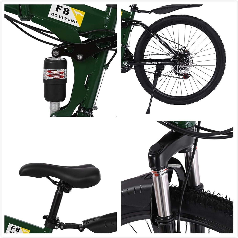 PUTEARDAT 26 inch Mountain Bike Shimanos Folding Bikes for Men Womans 21 Speed Full Suspension Disc Brakes Beach Cruiser Bicycles Trek MTB