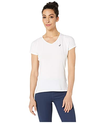 ASICS Short Sleeve V-Neck Top (Brilliant White) Women