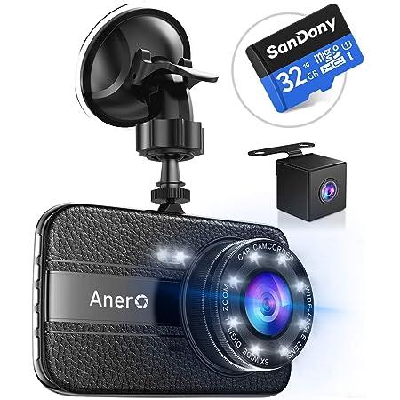 【改良版32Gカード付き】 ドライブレコーダー 前後カメラ 1296PフルHD 1800万画素 ドラレコ 170°広視野角 SONYセンサー/レンズ 常時録画 G-sensor WDR (ブラック)