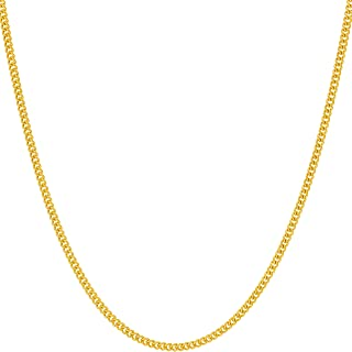 1.7mm Curb Link Chain Necklace for Women & Men 24k Gold...