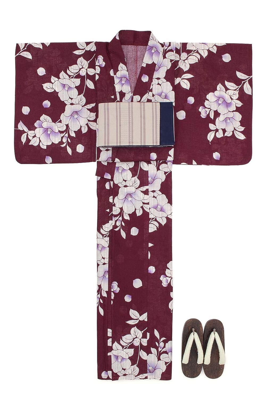 (ソウビエン) 浴衣 セット レディース 濃赤 レッド 椿 花 綿麻 半幅帯 マクレ ボヌールセゾン