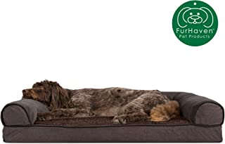 Furhaven Pet Dog Bed | Orthopedic Sofa-Style Traditional Living Room Couch Pet Bed w/ Removable Cover for Dogs & Cats - Available in Multiple Colors & Styles