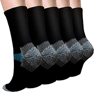 SLADORY Copper Plantar Fasciitis Compression Socks Arch Support Ankle Socks - 5/10 Pack - Best for Running, Athletic, and ...