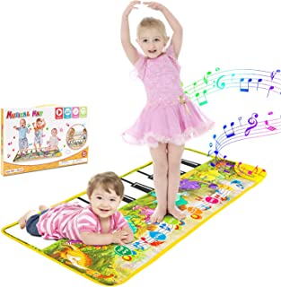 WOSTOO Musical Piano Mat, 17 Keyboard Play Mat Music Dance Mat Dinosaur Touch Play Safety Learn Singing Early Education Toys Gift for Boys & Girls, 42.7