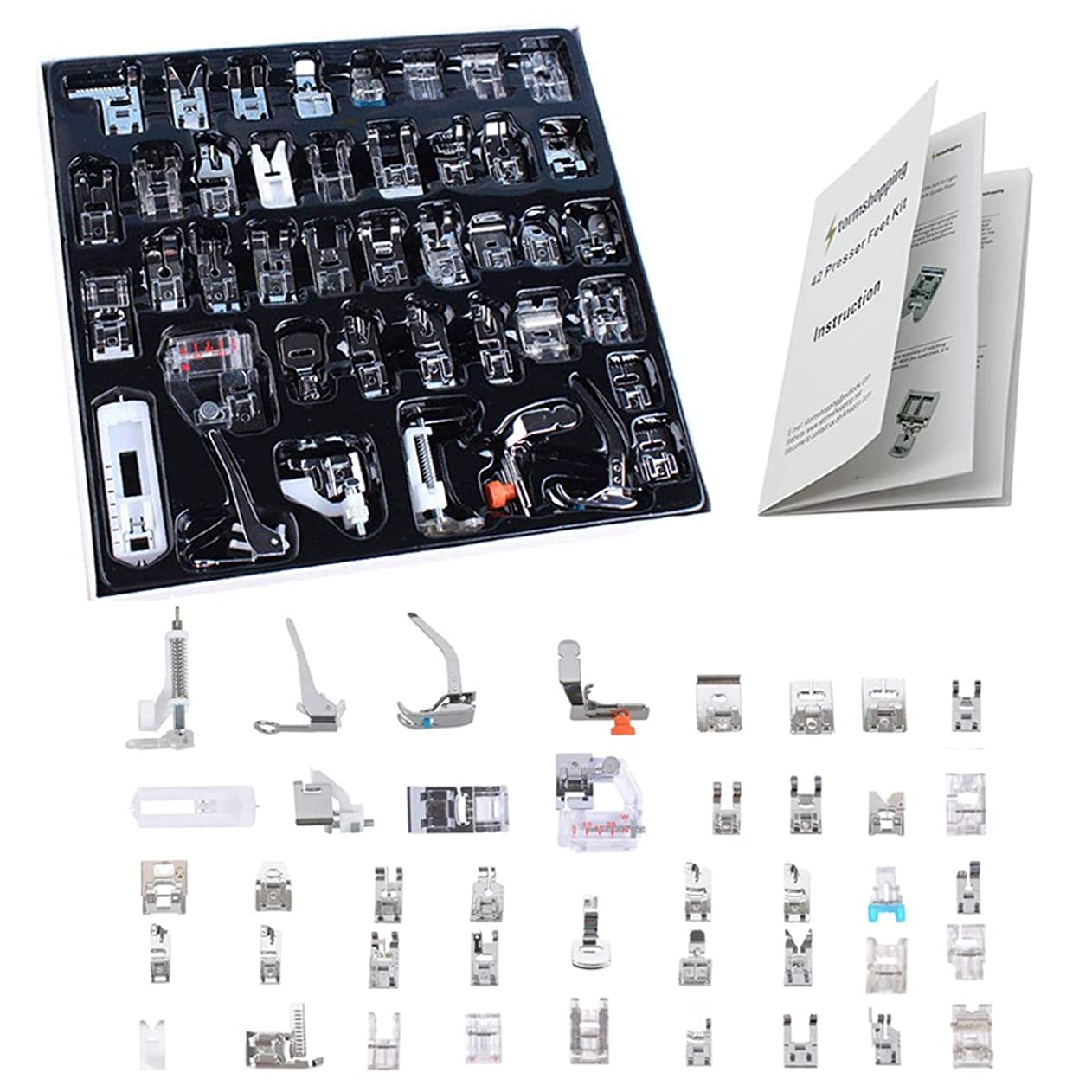 Professional Domestic 42 PCS Sewing Machine Sewing Foot Presser Foot Set with Manual for Brother, Singer, Babylock, Janome, Elna, Toyota, New Home, Simplicity and Kenmore Low Shank Sewing Machines ptjqdrftxmo22092