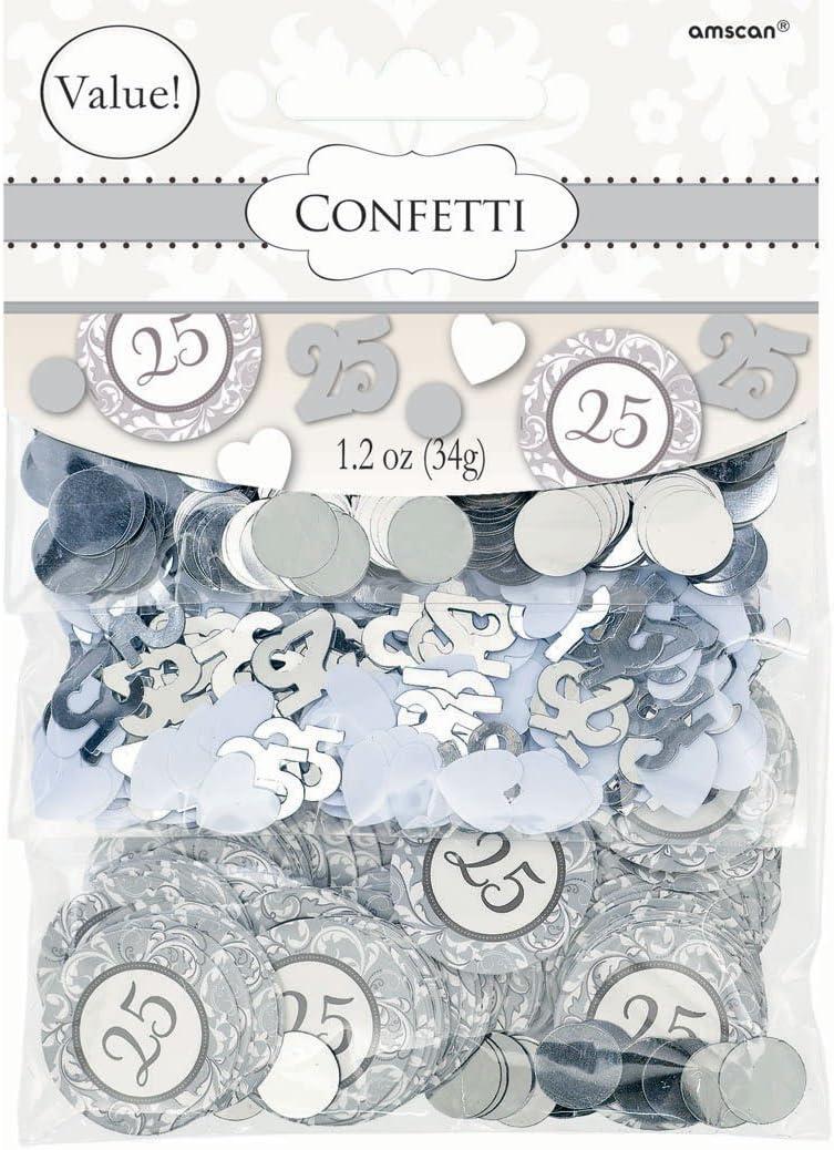 amscan 360432 Elegant Decorative Confetti Silver‑25th Anniversary Party Decoration Supplies, 1.2 oz.