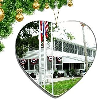 Hqiyaols Ornament USA America Harry S. Truman Little White House Key West Christmas Ornaments Ceramic Sheet Souvenir City Travel Pendant Gift Tree Door Window Ceiling Decoration Collection