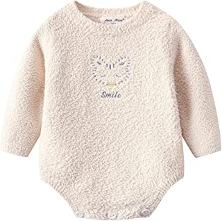 للجنسين الطفل الصوف الشتاء دافئ داخلية الرضع بنين بنات طويلة الأكمام حلزات ملابس (Color : Khaki, Size : 6M)