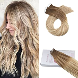Moresoo 18inch Remy Human Hair Extensions Tape in Hair 20PCS 50G Balayage Hair Extensions Skin Weft Tape Extensions Colored #6 Brown Fading to #14 Brown and #26 Blonde Tape in Hair