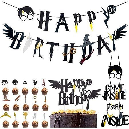 Harry Potter inspiriert Cupcake Toppers BETOY Satz von 18 Zauberer Geburtstag Geburtstag Partydekorationen Geburtstag Banner Wizard Birthday Party Supplies Kuchendeckel