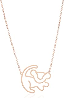 Disney by Couture Kingdom Women's Simba Necklace,Rose Gold, 17x1.5x1.5