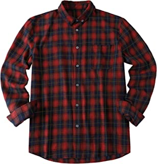 Mens Plaid Shirt Flannel Checked Shirts 100% Cotton Buffalo Shirt Long Sleeve Casual Business Tops
