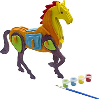 MISCY Unicorn 3d Puzzle Art Projects Craft Wood 3d Puzzles for Kids Ages 3+,especially for Kids 6-8, Animal Like a White Horse,Assemble Paint DIY Toys