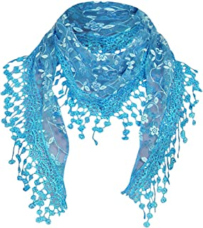 Blackobe Fashion Lace Tassel Sheer Floral Print Triangle Mantilla Scarf Shawl