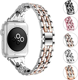 wootfairy Compatible with Apple Watch Band 38mm 40mm 42mm 44mm Series 4 3 2 1, Bling Replacement Bracelet iWatch Bands for Women, Diamond Jewelry Wristband Strap (Silver Gold, 38mm/40mm)