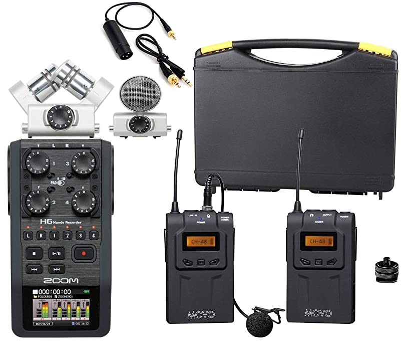 Zoom H6 Six-Track Portable Handy Recorder Bundle with Movo UHF Wireless Lavalier Microphone System