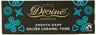 Divine Dark Chocolate Salted Caramel Thins, 200 g