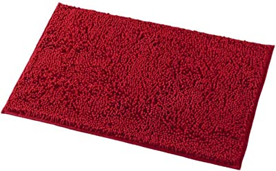 Homyux Chenille Non-Slip Bathroom Rugs Shag Bath Mat, 20x32, TPR Strong Backing, Soft Microfiber and Super Absorbent, Machine Washable, Deep Red