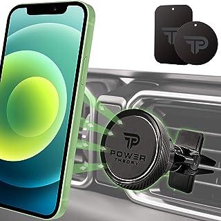 Power Theory Magnet Handyhalterung Auto   KFZ Handyhalter in Carbon Optik mit Stärkeren Magneten und verbesserter Klemme für iPhone 12 11 Pro Max XS X XR SE2 8 Plus 7 6 6s Samsung S20 S10+ S9 S8 S7 S6