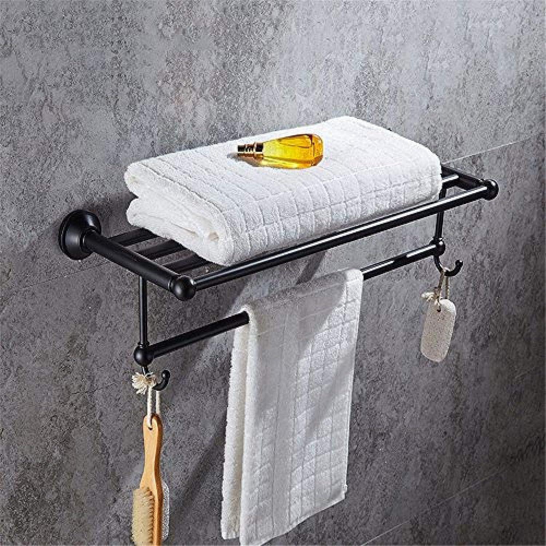 artículos de promoción WEIUTY Bastidores de Toallas Punzón Libre Acero Inoxidable Negro Negro Negro toallero Antiguo Estante de bao Estante de bao Accesorios de Hardware de bao Barra de Toalla 60  21  15 cmMarco Toallero Estante  online barato