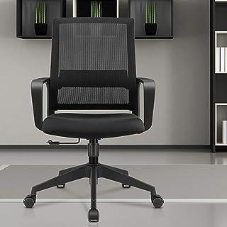 Sillas de escritorio de oficina Silla giratoria negra con reposabrazos Silla ergonómica de escritorio de oficina de malla con soporte lumbar, respaldo medio, altura ajustable, para sala de reuniones