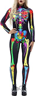 Auremore Halloween Costume for Women 3D Skeleton Costumes Cosplay Jumpsuit Rompers