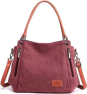 HNOOM Handtasche Damen Canvas Schultertasche Groß Handtasche Vintage Damen umhängetasche Canvas Hobo Tasche Crossbody Bag ...