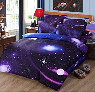 Nattey 3D Star Galaxy Printing Bedding Set Duvet Cover (Twin, A6)
